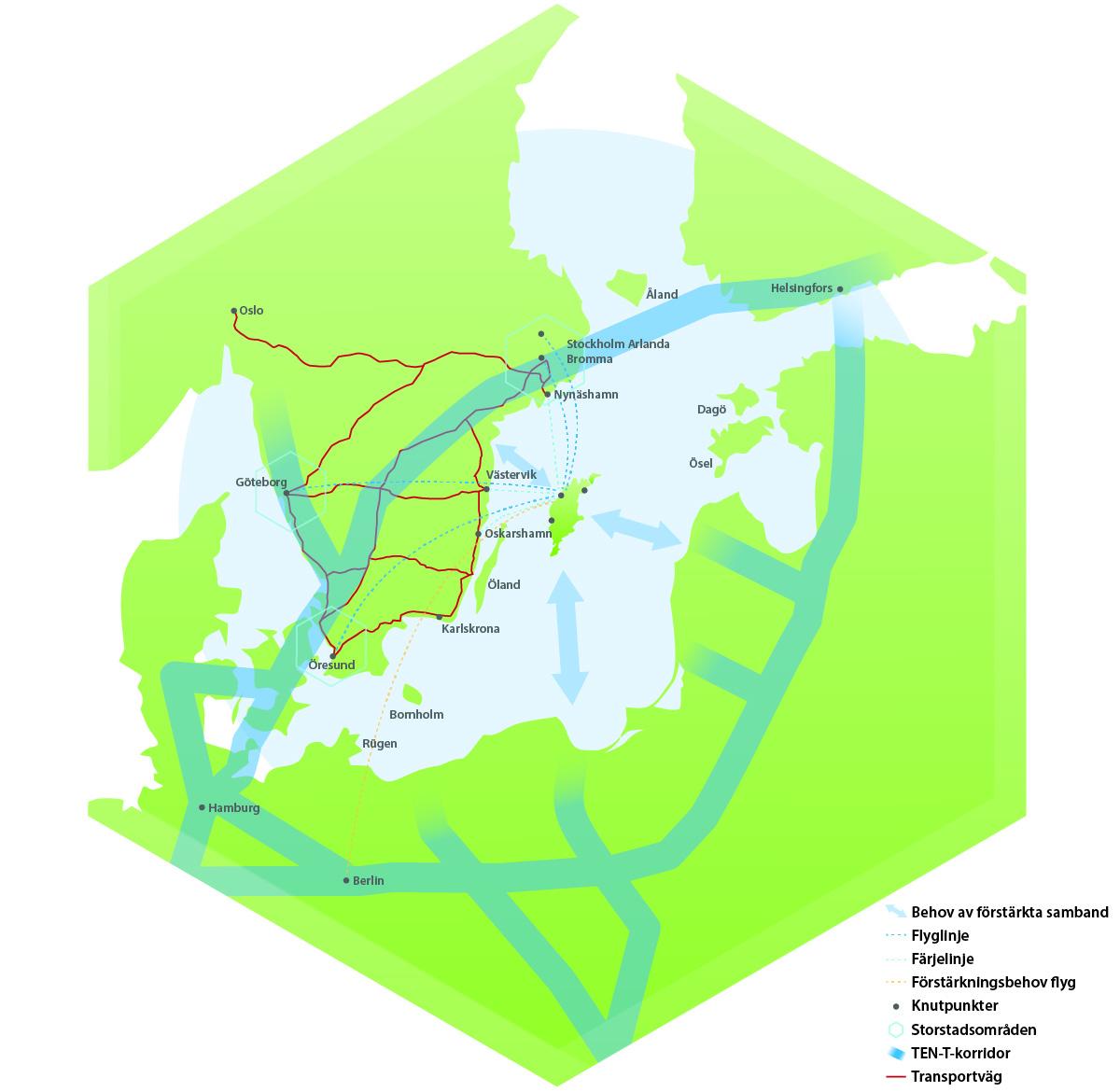Karta över norra Europa med Gotland i centrum och viktiga kommunikationsvägar markerade